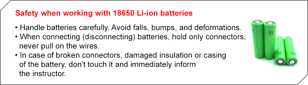 SAFETY when working with the battery