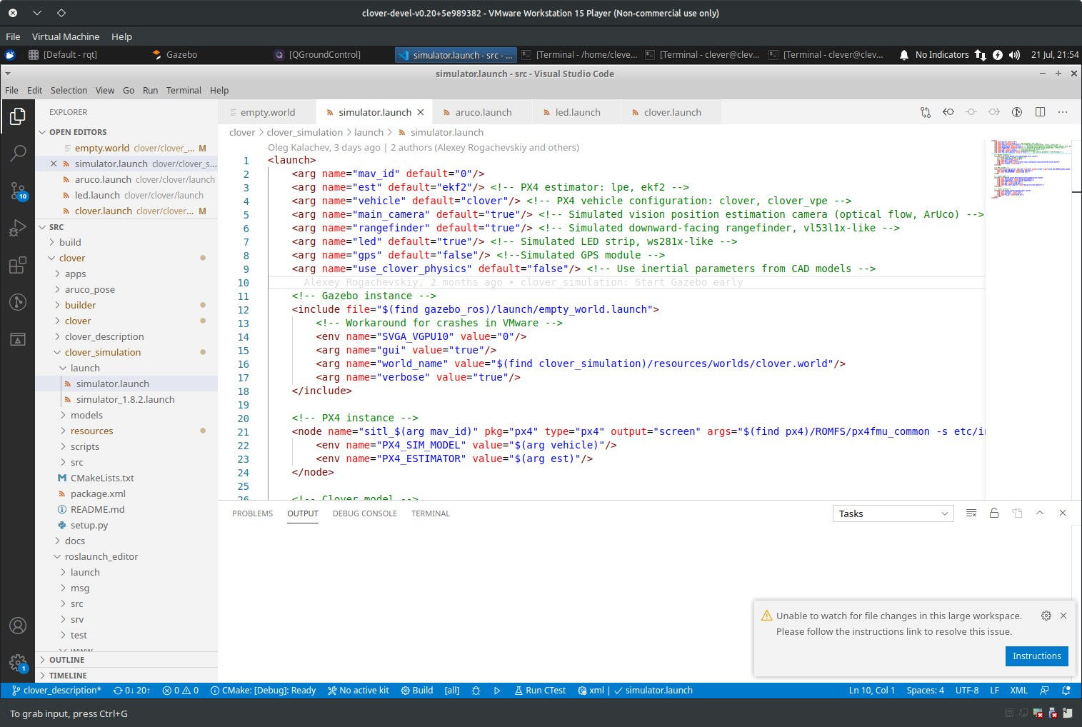 vscode with simulator.launch open